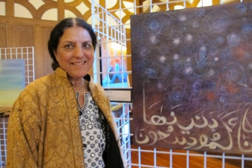 Salma Arastu Berkeley artist with Expanstion of the universe painting